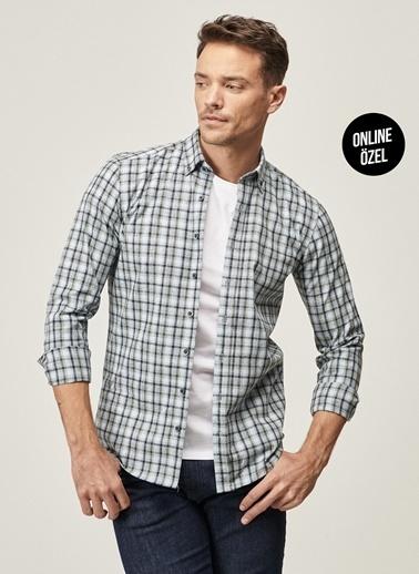 AC&Co / Altınyıldız Classics Tailored Slim Fit Dar Kesim Düğmeli Yaka Kışlık Gömlek 4A2021100099 Mavi
